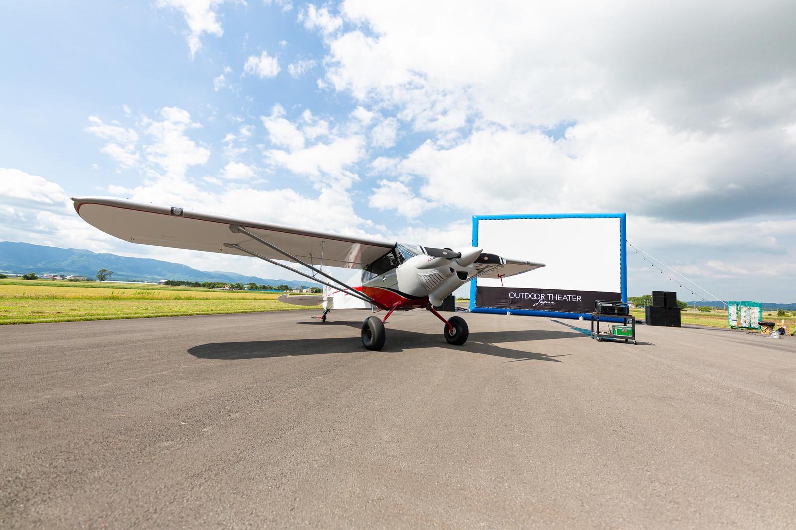 野外スクリーンと飛行機